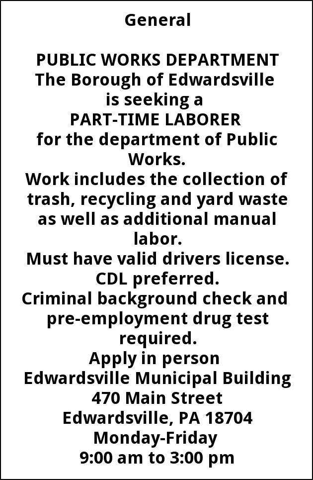 Laborer Edwardsville Borough Pa