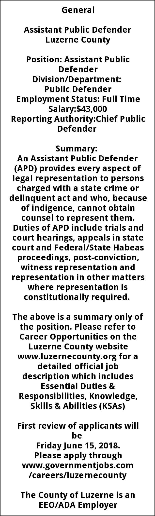 Assistant Public Defender