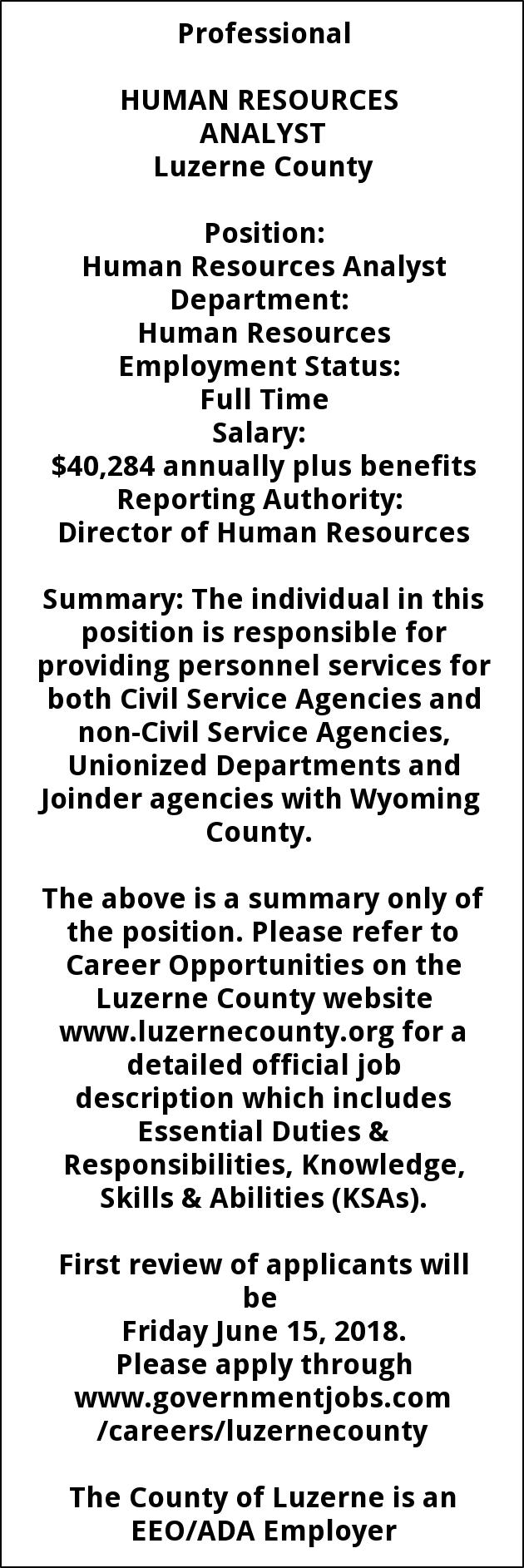 Human Resources Analyst, Luzerne County