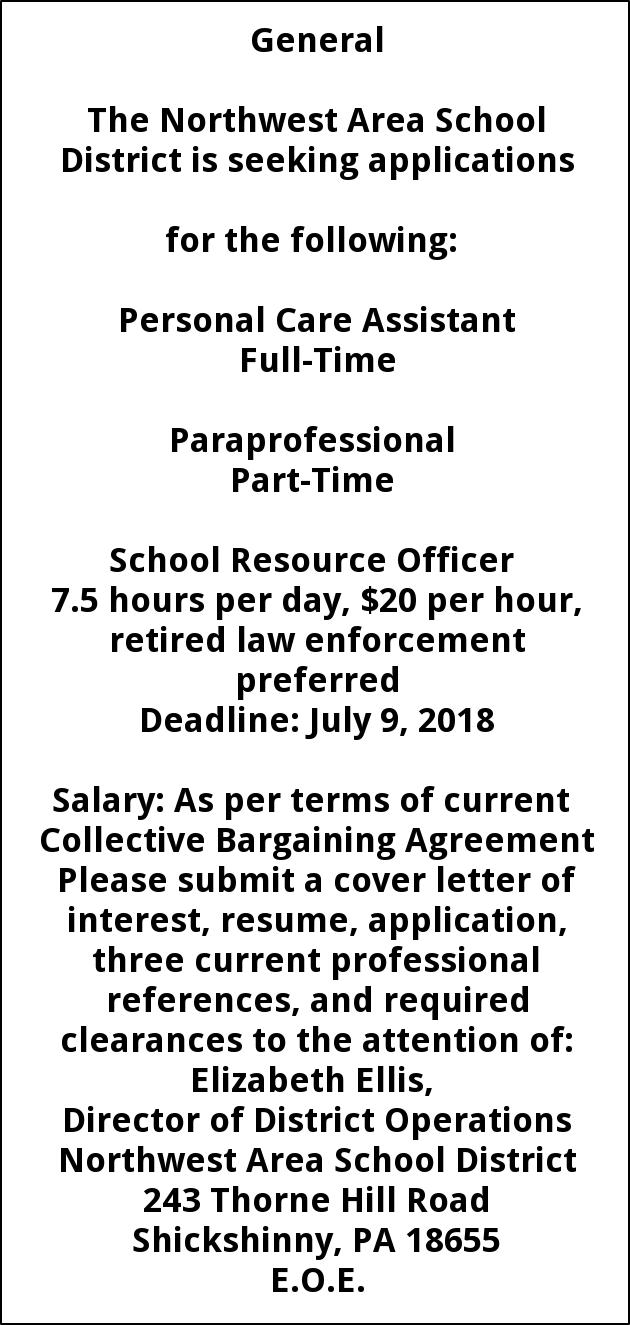 Personal Care Paraprofessional School Resource Officer Northwest