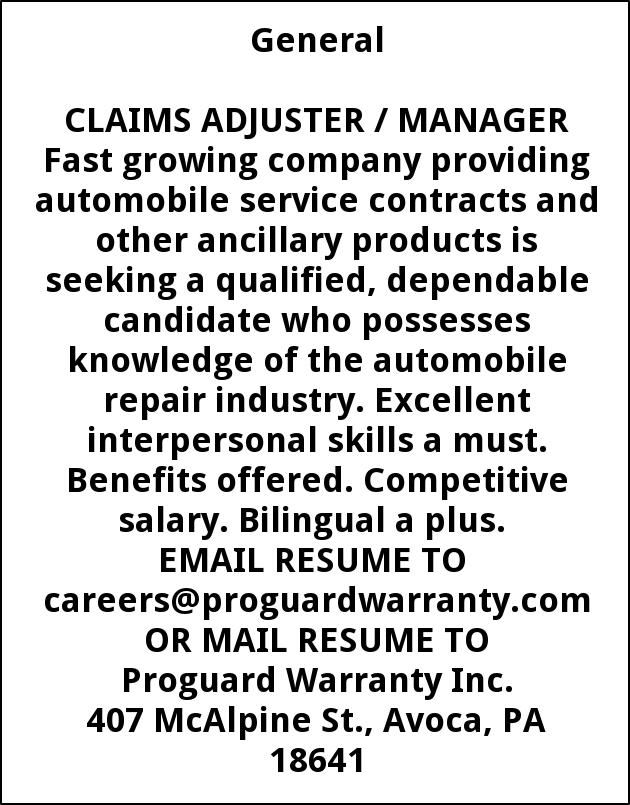 Claims Adjuster / Manager