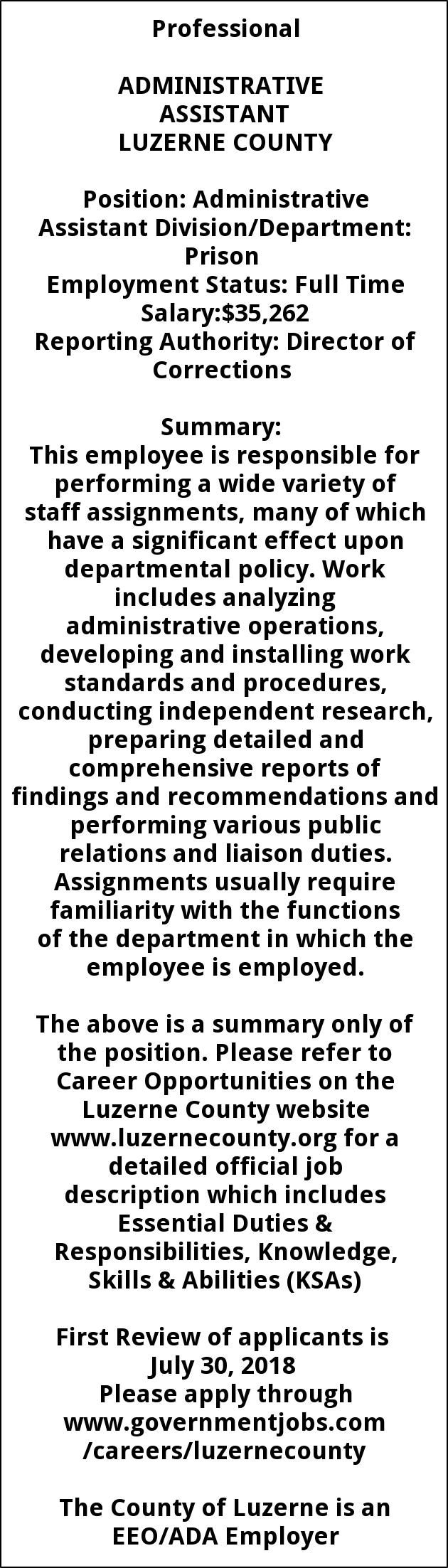 administrative assistant luzerne county