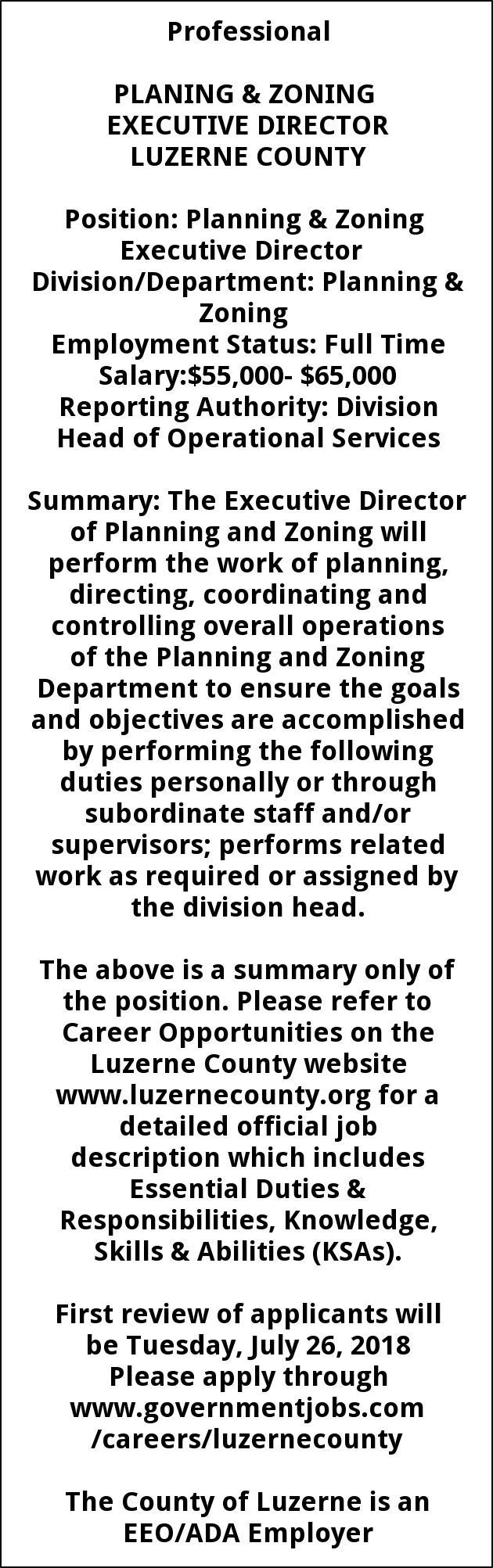 Executive Director Job Description | Planning Zoning Exec Director Luzerne County