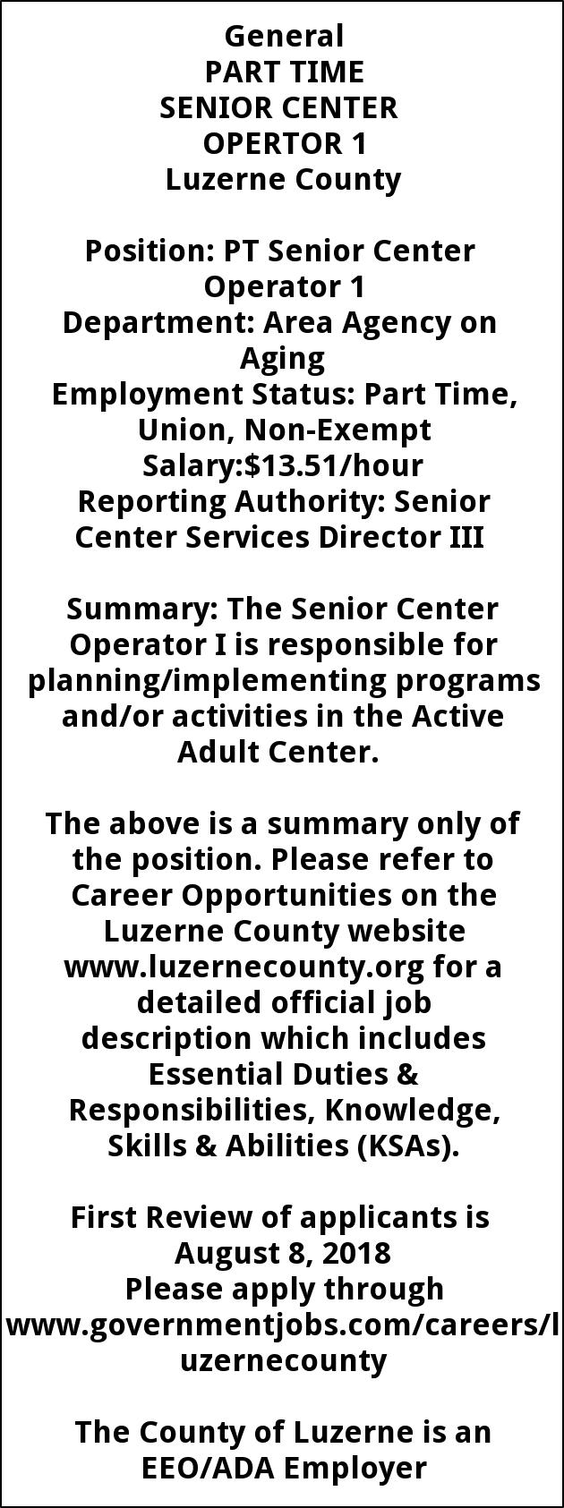 Senior Center Operator 1 Part Time