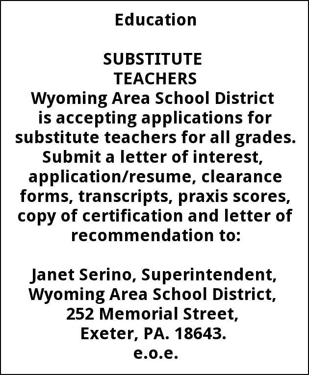 substitute teachers wyoming area school district