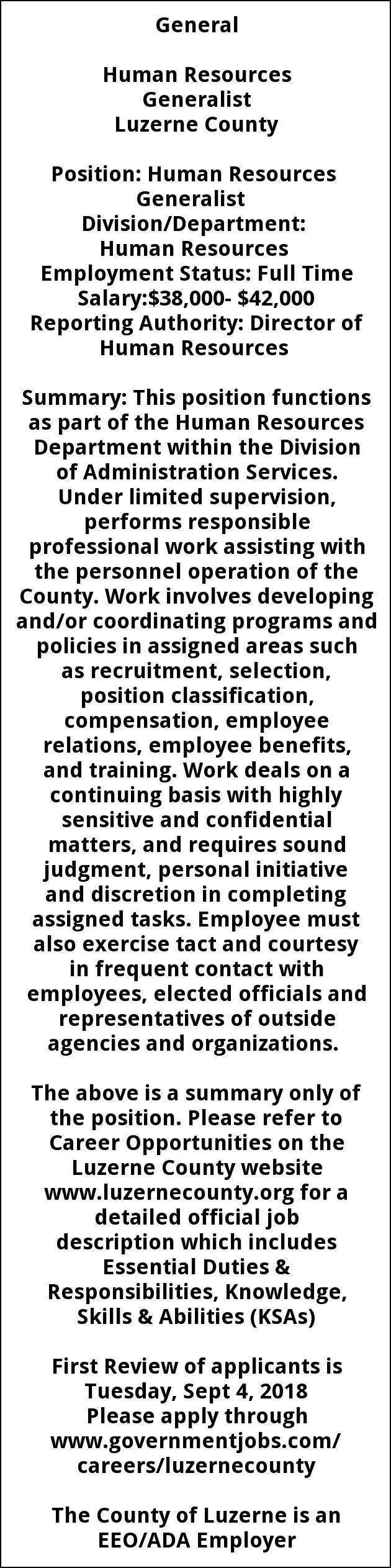 Human Resources Generalist, Luzerne County