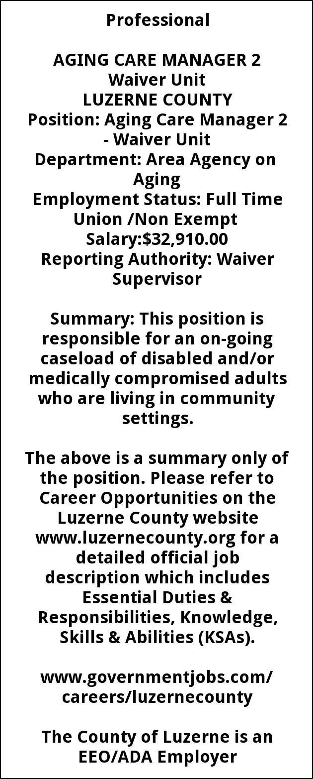 Aging Care Manager 2 Waiver Unit