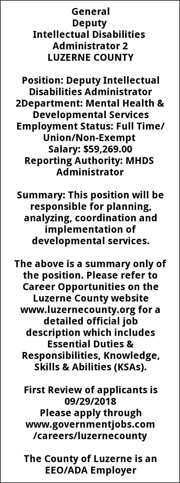 Deputy Intellectual Disabilities Admin 2