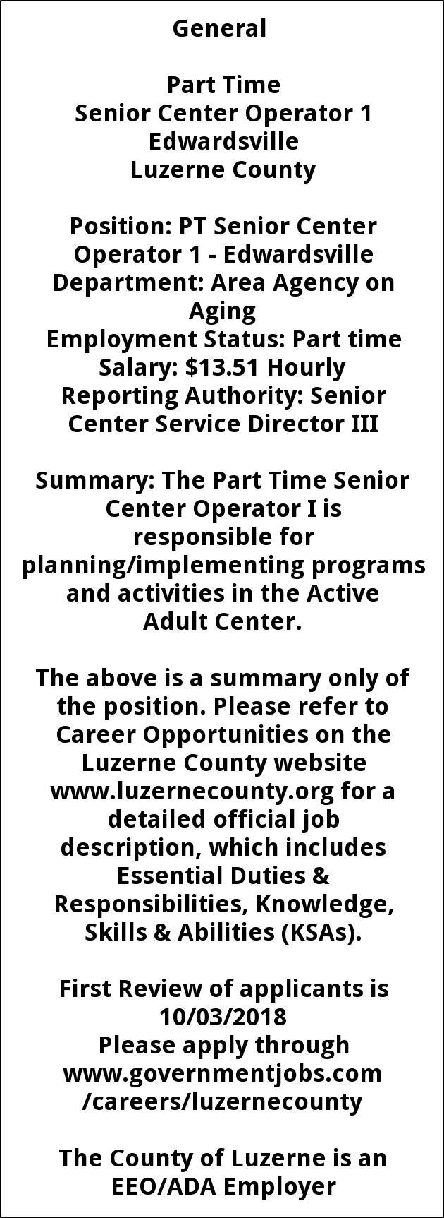 PT Senior Center Operator 1