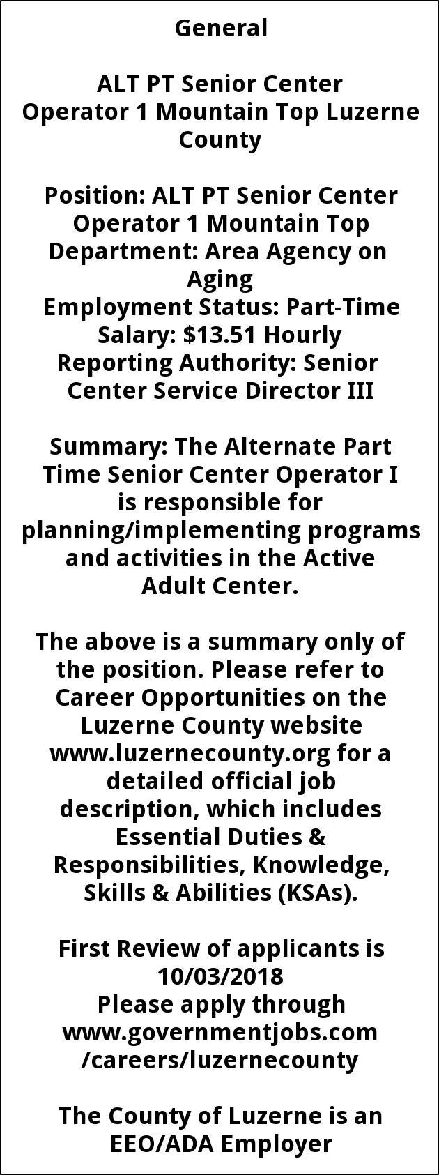 ALT PT Senior Service Ctr Operator 1