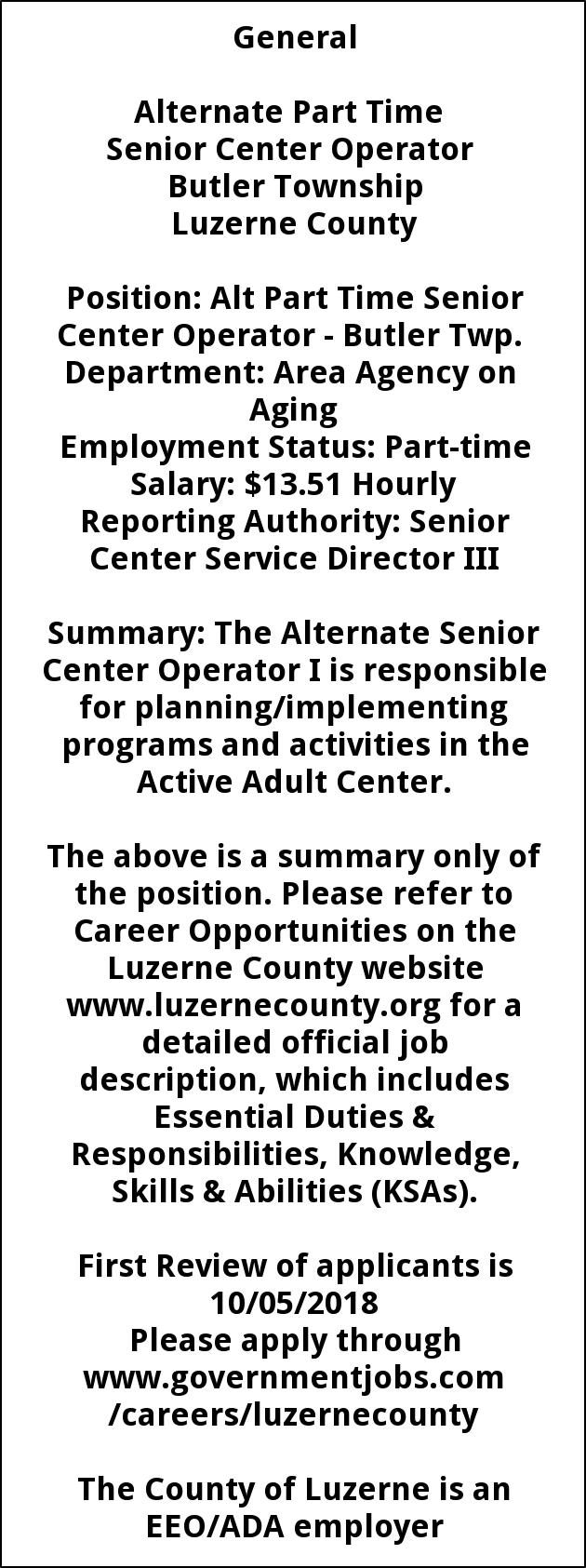 Senior Center Operator