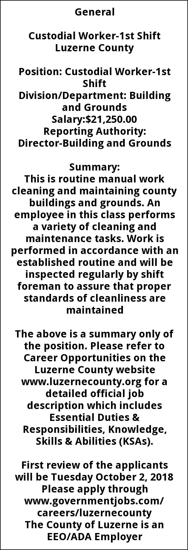 Custodial Worker 2nd Shift