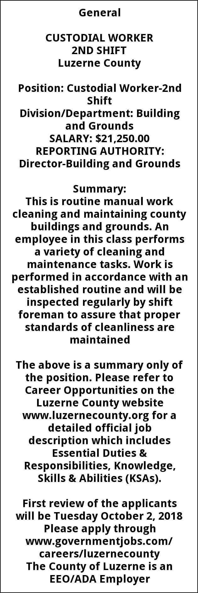 Custodial Worker 2nd Shift