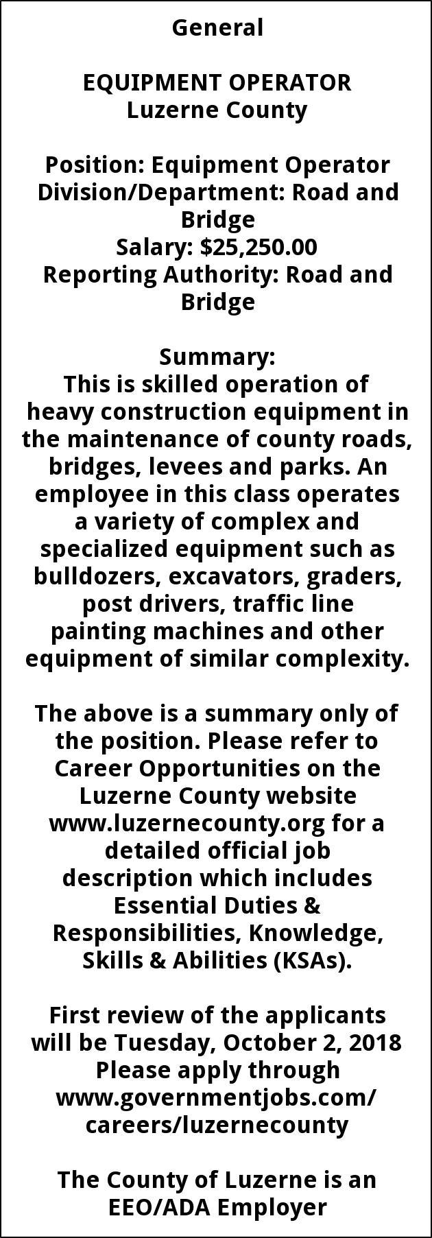 Equipment Operator