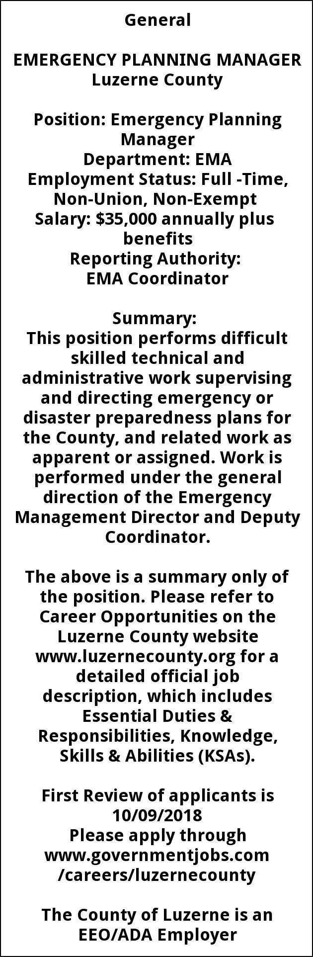 Emergency coordinator responsibilities