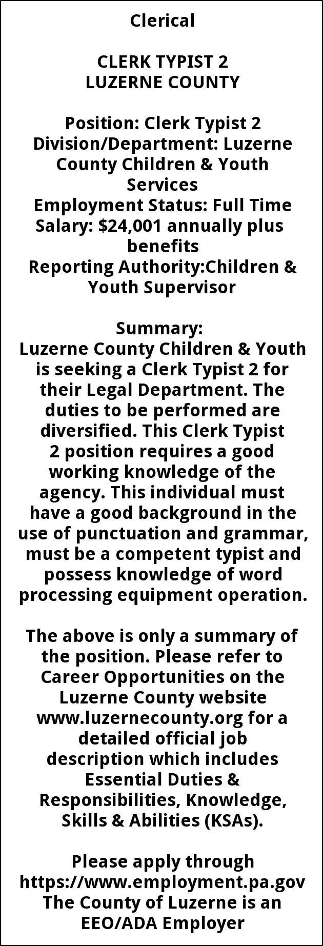 CLERK TYPIST 2