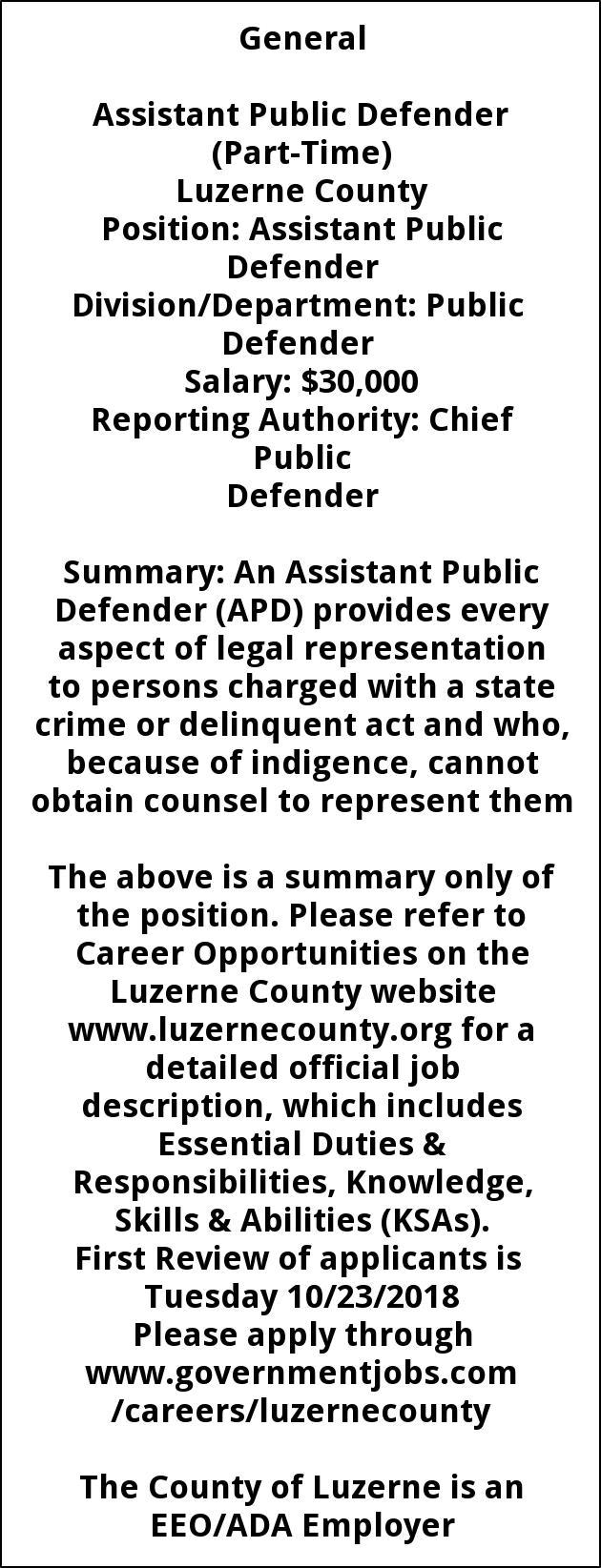 Assistant Public Defender Part Time