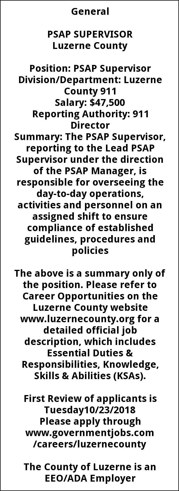 PSAP Supervisor