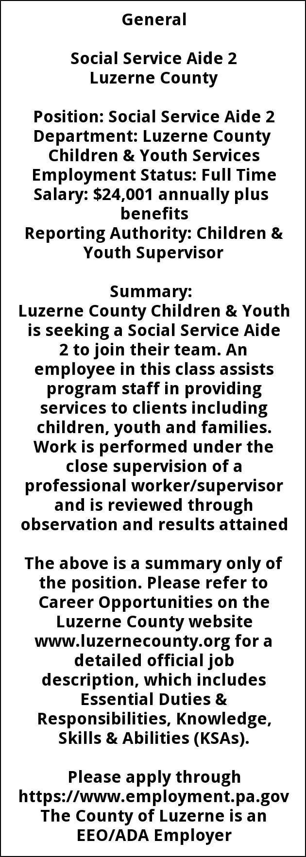 Social Service Aide 2