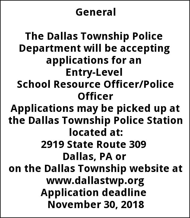 School Resource Officer Police Officer Dallas Township Dallas Pa