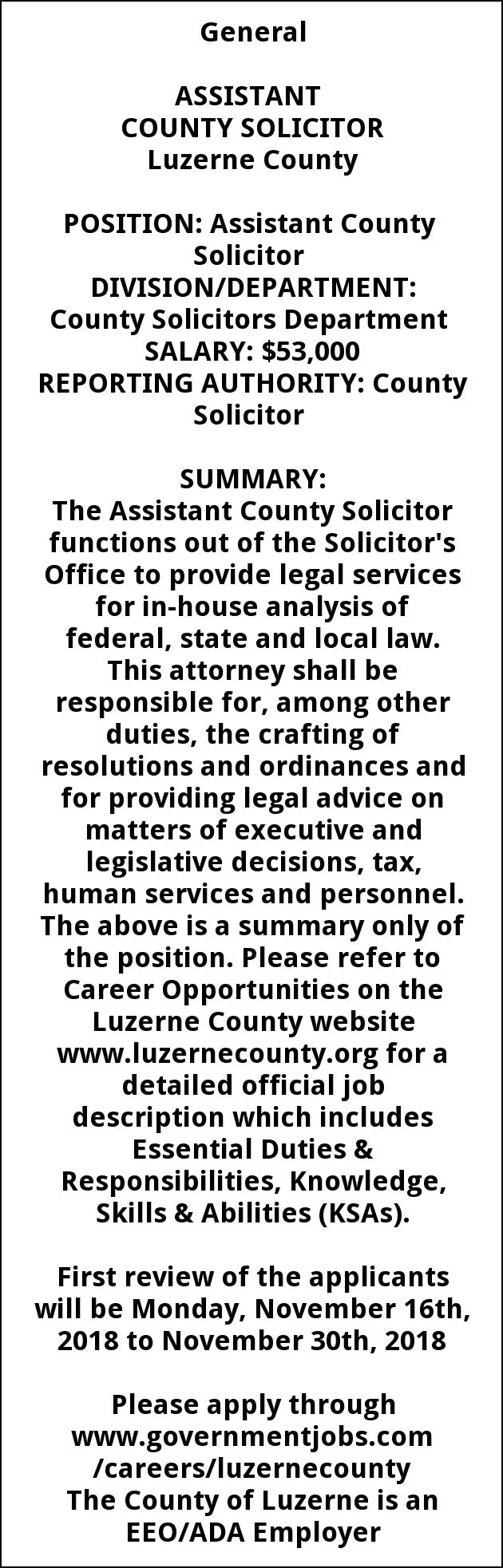 Asst. County Solicitor