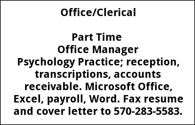 Part Time Office Manager