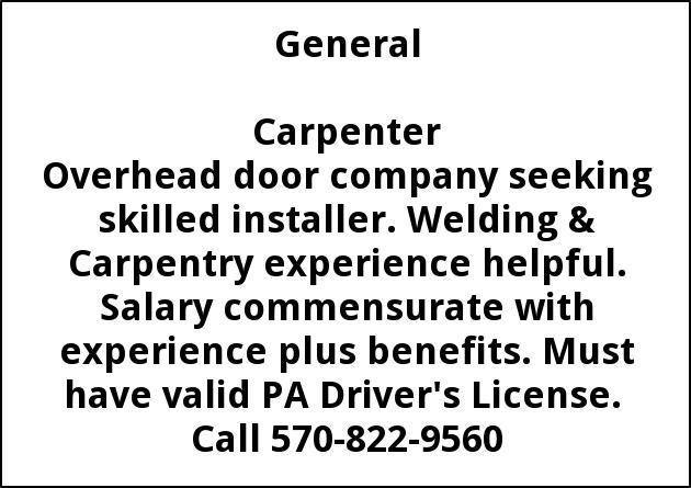 Carpenter, 570-822-9560