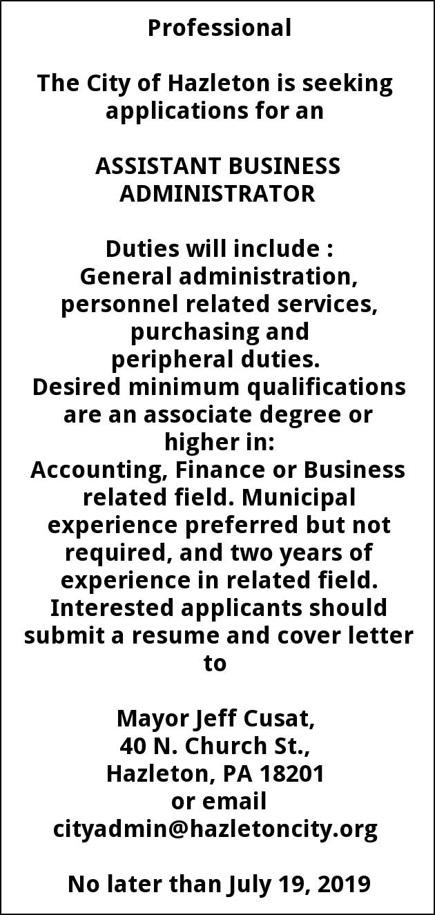 Assistant Business Administrator, City Of Hazleton, Hazleton, PA