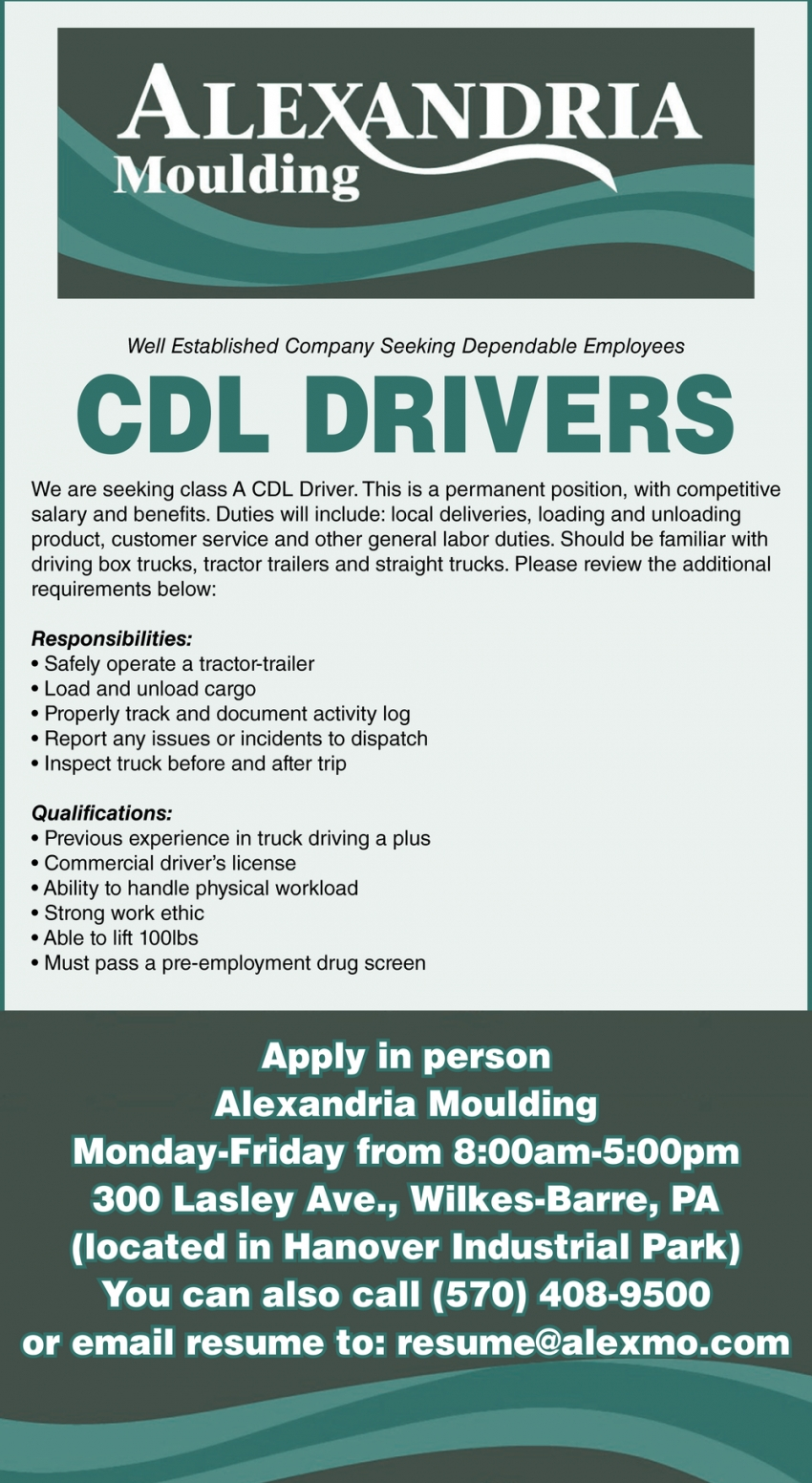 CDL Driver, Alexandria Moulding, Wilkes Barre, PA