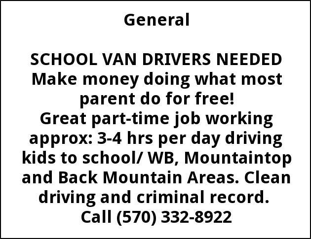 School Van Drivers Needed