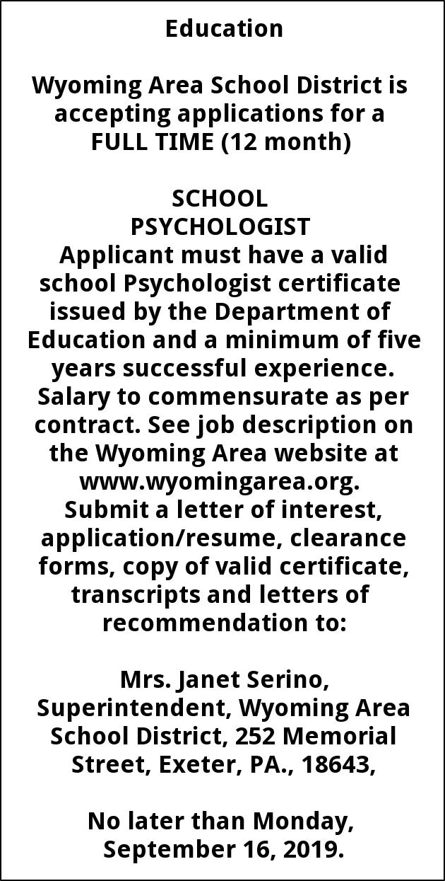 School Psychologist Wanted