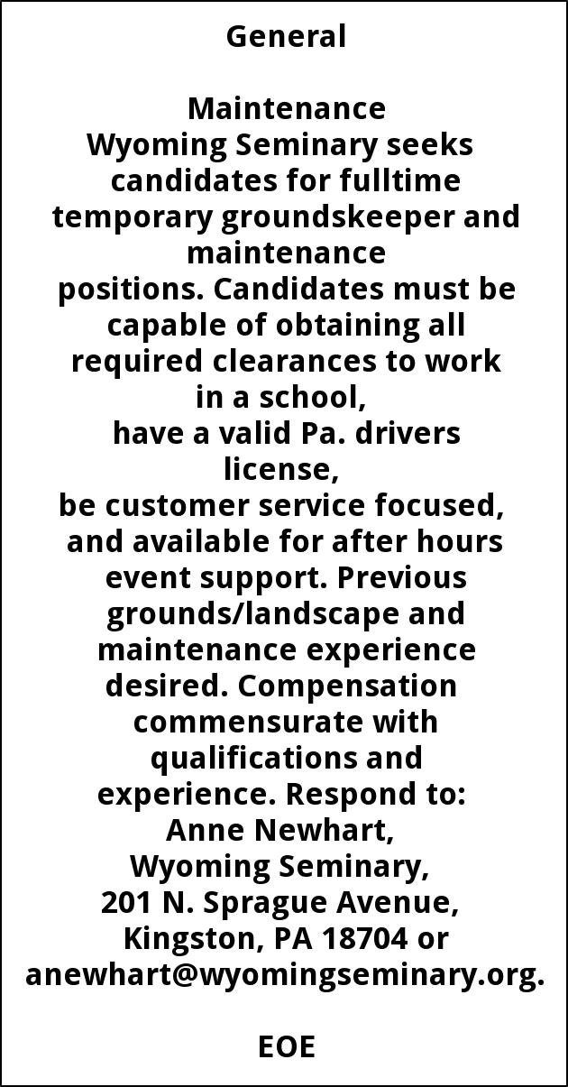 Groundskeeper And Maintenance