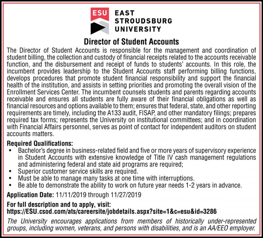 Director of Student Accounts