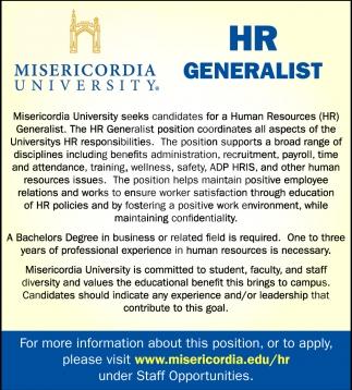 Hr Jobs In Dallas >> HR Generalist, Misericordia University
