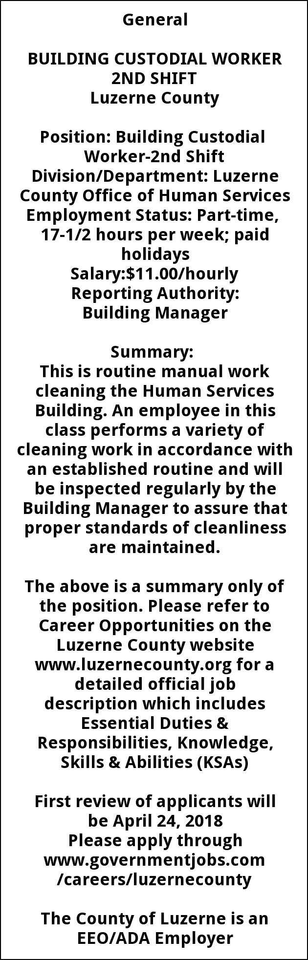 Building Custodial Worker 2nd shift