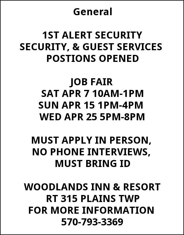 Security Guest Services Apply In Person Wilkes Barre Pa